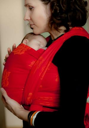 """In Bloom"" Red & Mandarine Jacquard Roses Cotton Baby Wrap"